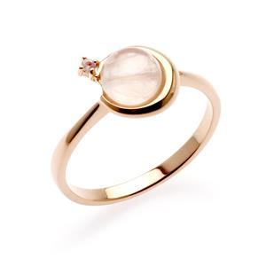 แหวนเงินชุบพิ้งโกล์ด ประดับโรสควอตซ์ (Rose Quartz ) ขนาด 6.00  mm.และพิงค์แซปไฟร์ (Pink Sapphire) เรียบเก๋สะดุดตา