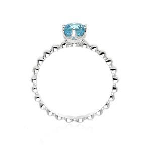 แหวนโทแพซสีฟ้า (Blue Topaz) ขนาด 5.00 mm ตัวเรือนเงินแท้ 925 สไตล์ Bubble Band ชุบโรเดียม