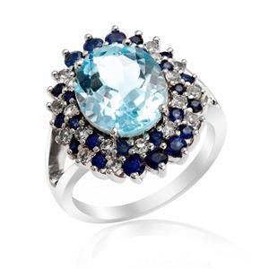 แหวนเงินแท้ 925 ประดับพลอยบลูโทแพซ (Blue Topaz) แล้วโอบล้อมด้วยบลู แซฟไฟร์ (Blue Sapphire) และ ไวท์ แซฟไฟร์ (White Blue Sapphire) หรูหรา งดงาม มีเสน่ห์