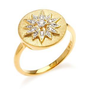 แหวนเงินแท้ 925 ชุบทองทอง 18k ดีไซน์ทรงดวงตะวัน แวววาวสะดุดตาด้วยเพชร CZ เกรดสูงคัดพิเศษ ให้ความรู้สึกหรูหรา เลอค่า เสริมลุคให้ดูสวยสง่า เก่ง มีพลัง แต่ยังน่าหลงใหลในแบบผู้หญิง