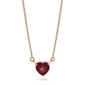 สร้อยคอเงินแท้ 925 ตัวเรือนชุบพิ้งค์โกลด์ ดีไซน์โดดเด่นด้วยรูปหัวใจ สื่อความหมายในรัก ประดับด้วยพลอยโรโดไลท์(Rhodolite) รักที่ต้องการครอบครอง