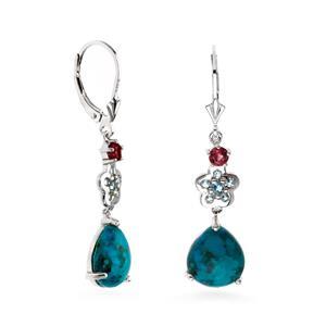 ต่างหูเทอร์ควอยซ์(Turquoise) เงินแท้ 925 ชุบทองขาว ประดับด้วยพลอยบลูโทแพซ(Blue Topaz) และ โรโดไลท์ (Rhodolite) อัพเดทแฟชั่นทุกสไตล์ ไม่มีตกเทรนด์