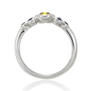 แหวนพลอยซิทริน(Citrine) ประดับพลอยไพลิน(Blue Sapphire) เหมาะสวมใส่ได้ทุกวัน ตัวเรือนเงินแท้ชุบทองคำขาว