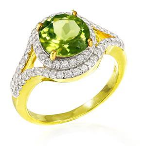 แหวนเพอริดอท( peridot) ตัวเรือนเงินแท้925 ชุบทองคำ ประดับด้วย SWAROVSKI ZIRCONIA สีขาว สวยคลาสสิค  เสริมบุคลิกเพิ่มความมั่นใจ