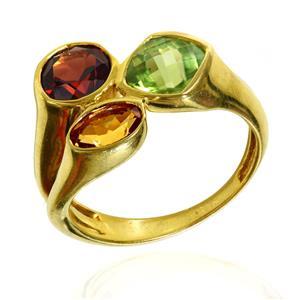 แหวนตัวเรือนเงินแท้ 925 ชุบทองคำ ประดับด้วย เพอริดอท(Peridot) ซิทริน(Citrine) และ โกเมน(Garnet)