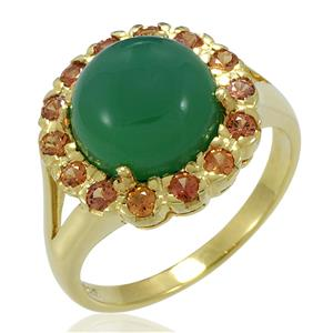 แหวนเงินแท้ ประดับด้วย อาเกต(Agate) สีเขียว และ ออเร้นจ์ แซฟไฟร์ (Orange Sapphire) เรียบหรู เสริมบุคลิกเพิ่มความมั่นใจ ตัวเรือนเงินแท้ 925 ชุบทองคำ