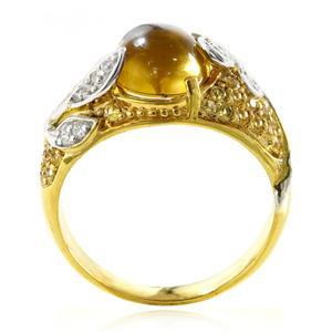 แหวนพลอยวิสกี้ควอตซ์(Whisky Quartz) แซฟไฟร์สีเหลือง(Yellow Sapphire) และ คิวบิกเซอร์โคเนีย (Cubic Zirconia) ตัวเรือนเงินแท้ 925 ชุบทองคำ