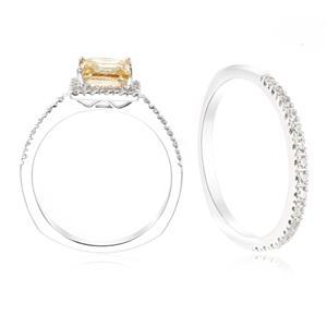 แหวนเงินแท้ 925 ชุบทองคำขาว ประดับด้วย SWAROVSKI ZIRCONIA  สวยคลาสสิค  เสริมบุคลิกเพิ่มความมั่นใจ