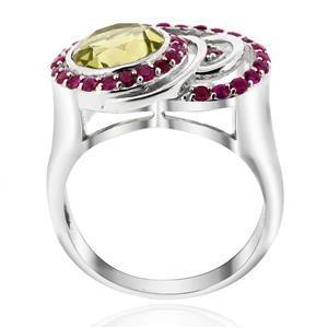 แหวน เลมอนควอตซ์(Lamon Quartz) ประดับด้วย ทับทิม(Ruby) ตัวเรือนเงินแท้ 925 ชุบทองคำขาว
