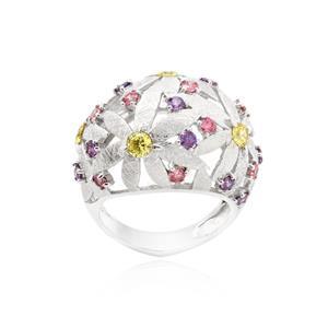 แหวนประดับ SWAROVSKI ZIRCONIA สีชมพู สีม่วง และสีเหลืองทอง ตัวเรือนเงินแท้ชุบทองขาว