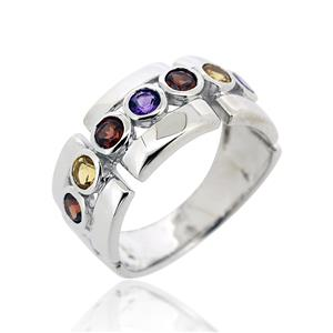 แหวนพลอย 3สี ประดับด้วยอเมทีสต์ (Amethyst) ซิทริน(Citrine) และ โกเมน(Garnet) ตัวเรือนเงินแท้ 925 ชุบทองคำขาว