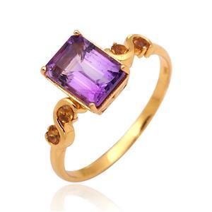 แหวนพลอย อเมทีสต์ (Amethyst) และ ซิทริน(Citrine) ตัวเรือนเงินแท้ 925 ชุบทองคำ