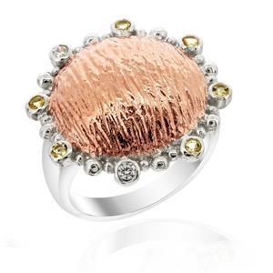 แหวนโดม ประดับด้วย ซิทริน(Citrine) และ คิวบิกเซอร์โคเนีย (Cubic Zirconia) ตัวเรือนเงินแท้ 925 ชุบทอง 2 สี พิ้งค์โกลด์และทองคำขาว