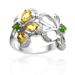 แหวนตัวเรือนเงินแท้ 925 ชุบทองขาว ประดับด้วยพลอย ซิทริน(Citrine) โครมไดออพไซด์(Chrome Diopside) และ คิวบิกเซอร์โคเนีย (Cubic Zirconia)