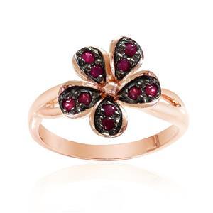 แหวนเงินแท้ 925 ดีไซน์ดอกไม้ ประดับด้วยพลอย ทับทิม(Ruby) สีแดง ชุบ 2สี Black Rhodium and Pink Gold