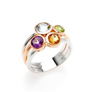 แหวนตัวเรือนเงินแท้ 925 ชุบทอง 2 สี สีทอง และ ทองคำขาว ประดับด้วยพลอย บลูโทแพซ(Blue Topaz) สีฟ้า ซิทริน(Citrine) สีเหลือง อเมทีสต์ (Amethyst) สีม่วง และ  เพอริดอท(Peridot)