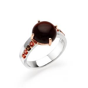 แหวนพลอยตาเสือ (Tiger's Eye) เม็ดโต ประดับ Smoky Quartz และ Orange Sapphire ตัวเรือนเงินแท้ชุบสีพิ้งค์โกลด์ และ ทองคำขาว