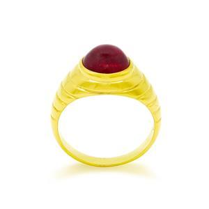 แหวนทับทิมแท้(Ruby) สีแดง ตัวเรือนเงินแท้ชุบทองคำ ดีไซน์สวยโดดเด่น เหมาะกับเป็นของขวัญให้คนที่คุณรัก