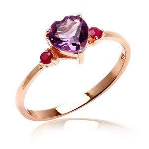 แหวนเงินแท้ 925 ชุบทองพิ้งคืโกลด์ ประดับพลอยอเมทิสต์ (Amethyst) รูปหัวใจ และ ทับทิม (Ruby) เสริมบุคลิกความมั่นใจ เสริมความรัก เสริมให้มีสติ