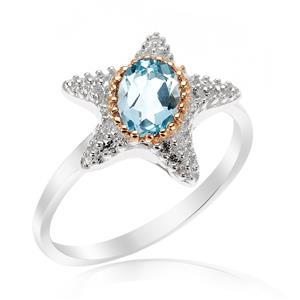 แหวนดีไซน์ปลาดาวน่ารัก ประดับด้วยพลอย บลูโทแพซ(Blue Topaz)  ตัวเรือนเงินแท้ 925 ชุบด้วยทองคำขาว และ พิ้งค์โกลด์ที่ขอบพลอยสวยงาม ไม่เหมือนใคร