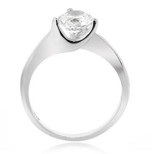 แหวนประดับ SWAROVSKI ZIRCONIA สีขาว ขนาดเทียบเท่าเพชร 1 กะรัต ตัวเรือนเงินแท้ ชุบทองขาว