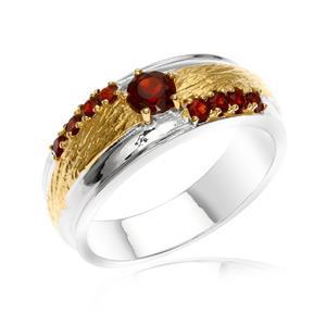 แหวนเงินแท้ 925 ชุบทองคำขาว และ ชุบทองหน้าพลอย ประดับพลอยโกเมน (Garnet) เสริมบุคลิกความมั่นใจ เสริมให้ร่ำรวย อัญมณีประจำเดือนมกราคม