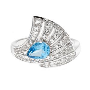 แหวนเงินแท้ประดับพลอยบลูโทแพซ(Blue Topaz)  และโทแพซสีขาว ดีไซน์รูปพัด สวยเก๋ดูสง่า ชุบด้วยทองขาว