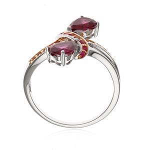 แหวนโรโดไลท์ (Rhodolite) ประดับทับทิม(Ruby)  และแซฟไฟร์สีชุมพู(Pink Sapphire) ตัวเรือนเงินแท้ ชุบทอง 2 สี ทองขาว และ สีชมพูพิ้งค์โกลด์ ดีไซน์เก๋ ไม่เหมือนใคร