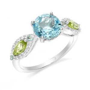 แหวนตัวเรือนเงินแท้ 925 ชุบทองขาว ประดับด้วยบลูโทแพซ(Blue Topaz) เพอริดอท(Peridot) และ ไวโทแพซ(White Topaz) เพิ่มความเลอค่าให้กับนิ้ว