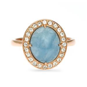 แหวนอะความารีน(Aquamarine)  ตัวเรือนเงินแท้ชุบพิงค์โกลด์ ล้อม White Toapz  แหวนสวยไม่ซ้ำใคร หรูหรา เหมาะกับสาวๆ ทุกวัย