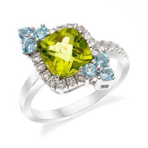 แหวนตัวเรือนเงินแท้ 925 ชุบทองขาว ประดับด้วยเพอริดอท(Peridot) บลูโทแพซ(Blue Topaz)  และ ไวโทแพซ(White Topaz) เพิ่มความเลอค่าให้กับนิ้ว