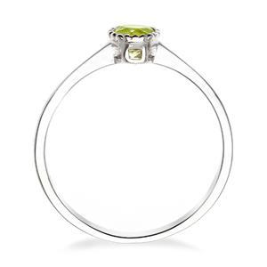 แหวนเพอริดอท(Peridot)  สีเขียว ดีไซน์น่ารักแต่เก๋ไก๋ ตัวเรือนชุบทองคำขาว (Rhodium)