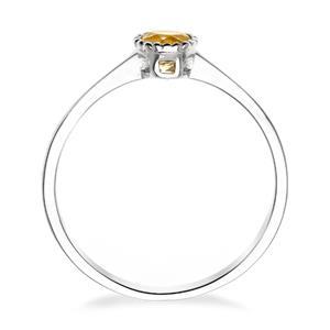 แหวนซิทริน(Citrine)  สีเหลือง ดีไซน์น่ารักแต่เก๋ไก๋ ตัวเรือนชุบทองคำขาว (Rhodium)