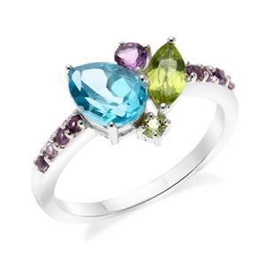 แหวนเงินแท้ ดีไซน์หยุดน้ำ ประดับพลอยอเมทิสต์ (Amethyst) บลูโทแพซ (Blue Topaz) เพอริดอท (Peridot)