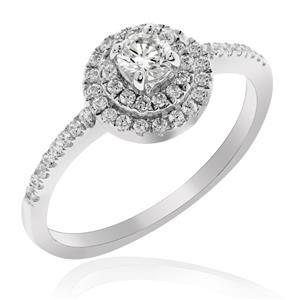 แหวนประดับ SWAROVSKI ZIRCONIA สีขาว  ตัวเรือนเงินแท้ 925  ชุบทองขาว ใส่แหวน เสริมรสนิยม สวยสง่า ดูดี