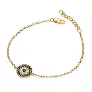 สร้อยข้อมือข้อมือเงินแท้ 925 ชุปทองคำ ประดับด้วย ไพลิน(Blue Sapphire) ล้อมด้วยคิวบิกเซอร์โคเนีย (Cubic Zirconia)