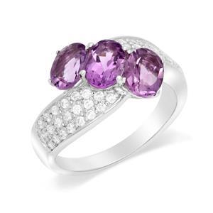 แหวนเงินแท้ 925 ดีไซน์เก๋ไก๋ ประดับพลอยอเมทิสต์ (Amethyst) ประดับด้วยคิวบิกเซอร์โคเนีย (Cubic Zirconia) แหวนสวยไม่ซ้ำใคร หรูหรา เหมาะกับสาวๆ