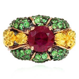 แหวนพลอย 3 สี ทับทิม(Ruby) ซาโวไรท์(Tsavorite) บุษราคัม(Yellow Sapphire) ดีไซน์รูปทรงดอกไม้ บนตัวเรือนเงินแท้