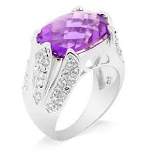 แหวนประดับพลอยอะเมทิสต์ (Amythyst) สีม่วงพร้อมประดับเพชร DiamondLike บนตัวเรือนเงินแท้ชุบทองคำขาว