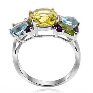 แหวนเลมอนควอตซ์ ประดับบลูโทปาซ เพอริดอท และอเมทิสต์ ตัวเรือนเงิแท้ชุบทองคำขาว