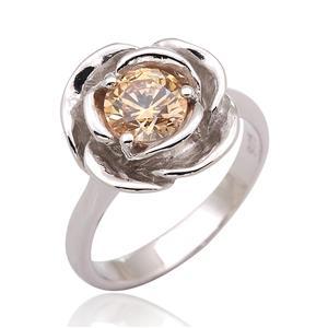 แหวนกุหลาบ SWAROVSKI ZIRCONIA สีเหลืองแฟนซี ตัวเรือนเงินแท้ชุบทองคำขาว ดีไซน์น่ารัก เหมาะกับสาวหวานที่สุด