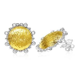 ต่างหู ประดับด้วย SWAROVSKI ZIRCONIA สีขาว ตัวเรือนเงินแท้ชุบสีทูโทนทองคำและทองคำขาวแท้
