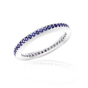 แหวน LENYA ETERNAL ประดับด้วย SWAROVSKI ZIRCONIA สีน้ำเงิน บนตัวเรือนเงินแท้ชุบทองคำขาวแท้ ดีไซน์แบบแถวเดี่ยวเต็มวง สวยคลาสสิค