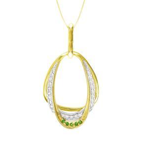 จี้ประดับเพชร DiamondLike และพลอยซาโวไรต์ (Tsavorite) สีเขียว ดีไซน์เรียบง่ายแต่เก๋ ตัวเรือนเงินแท้ชุบสีแบบทูโทน ชุบทองคำแท้ และทองคำขาว