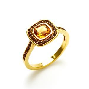 แหวนประดับพลอยซิทริน (Citrine) และพลอยสโมคกี้คอวทซ์ (Smoky Quartz) ตัวเรือนเงินแท้ชุบทองคำแท้