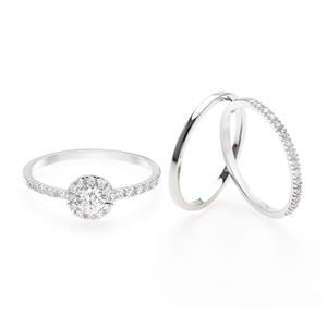 แหวน LenYa Eternal ประดับ SWAROVSKI ZIRCONIA ดีไซน์ใส่ซ้อนกัน 3 วง ตัวเรือนเงินแท้ชุบทองคำขาว