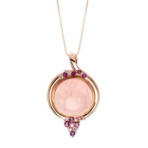 จี้ประดับโรสควอร์ทซ์ (Rose Quartz) สีชมพู เสริมเสน่ห์เรื่องความรัก สร้างมิตรภาพหนุนนำควมร่ำรวย ตัวเรือนเงินแท้ชุบสีพิ้งค์โกลด์ (Pink Gold)