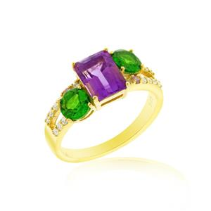 แหวนอะเมทิสต์(Amethyst) พลอยโครมไดออฟไซด์(Chrome Diopside) พิ้งค์ แซฟไฟส์(Pink Sapphire) ตัวเรือนเงินแท้ชุบทองคำ