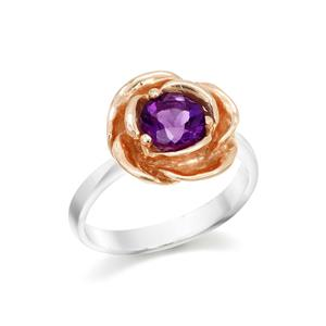 แหวนดอกกุหลาบ ประดับอะเมทิสต์ ตัวเรือนเงินแท้ชุบทองคำขาว และทองชมพู 18K สุดโรแมนติค