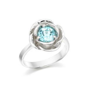 แหวนบลูโทแพซ รูปดอกกุหลาบ ตัวเรือนเงินแท้ชุบทองคำขาว ให้ความรู้สึกผ่อนคลายความเครียด